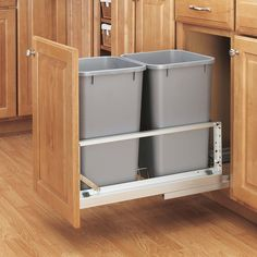 Rev-A-Shelf Double Soft Close Pull Out 35 qt. Trash Can - The Rev-A-Shelf Double Soft Close Pull-Out Trash Can provides twice as much space to discreetly dispose of waste. The waste container set fea. Shelves, Kitchen Storage, A Shelf, Cabinets Organization, Kitchen Remodel, Pull Out Trash Cans, Rev A Shelf, Home Kitchens, Waste Container