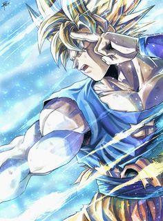 End of Z Goku Art by sumutemu_ : dbz Dragon Ball Gt, O Goku, Dbz Vegeta, Goku Wallpaper, Dragonball Wallpaper, Ball Drawing, Anime Art, Manga Anime, Goku Manga