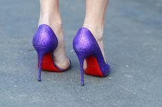 women's shoes metallic purple pumps
