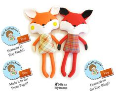 "PDF sewing pattern is to make a child friendly fox that is 19"" (48.5 cm) tall (excluding ears) from cotton and felt fabrics. These wonderful woodland friends are always on the hunt for their next cuddle!    My versatile pattern allows you to make both boy and girl foxes and comes with an 22 page easy to follow photo and instructional tutorial, with helpful doll making tips & tricks, an easy felt face and tail template, as well as links to my video series on how to paint doll's faces. You ..."