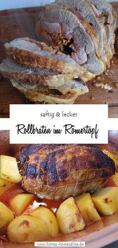 Heute zeige ich dir wie du einen Rollbraten im Römertopf mit Kartoffeln zusammen machst. Das ist so wahnsinnig lecker. Dieses Gericht kannst du als Festtagsessen oder sogar zu Weihnachten planen!  #Weihnachten #Festtagsessen #RollbratenimRömertopf #Rollbraten #Römertopf Low Carb, Pork, Meat, Easy Peasy, Fitness, Muffin, Dinner, Friends, Kid Recipes
