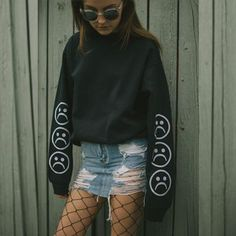 The Sad Society™ Sad Face™ Vintage Black Sweatshirt New Year New Me, Sad Faces, Sweatshirt Outfit, How To Make Clothes, Vintage Black, Leather Skirt, Long Sleeve Shirts, Cute Outfits, Celebrities