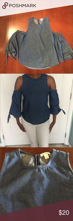 Francesca's Collections Cold-Shoulder Denim Top This is a NWOT never worn Denim cold-shoulder top. From Francesca's. This is my daughter's, I am modeling so you can see how it fits the body.  Super nice. Francesca's Collections Tops
