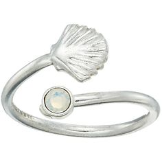 Alex and Ani Shell Wrap Ring (Silver) Ring ($28) ❤ liked on Polyvore featuring jewelry, rings, alex and ani rings, sea shell ring, silver seashell ring, silver rings and swarovski crystal jewelry