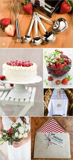 Love this red and white wedding colors and strawberry theme