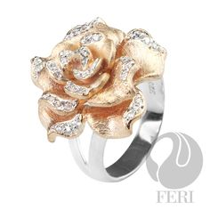 - 925 fine sterling silver - micron natural rhodium plating - 3 micron rose gold plating - 22 karat yellow plated gold - Set with AAA white cubic zirconia - Dimension: Invest with confidence in FERI Designer Lines Jewelry Shop, Fashion Jewelry, Sterling Silver Jewelry, Silver Rings, Yellow Plates, Autumn Rose, Gold Set, Antique Stores, Pandora Jewelry