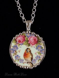 Vintage Jewelry Crafts Dishfunctional Designs: Birds On Vintage China Patterns (broken china jewelry by Laura Beth Love) - Creative ideas in crafts and upcycled, innovative, repurposed art and home decor. I Love Jewelry, Jewelry Art, Jewelry Accessories, Fashion Jewelry, Jewelry Design, Jewelry Making, Cameo Jewelry, Glass Jewelry, Broken China Crafts