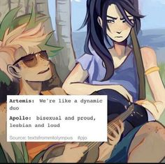 Bisexual and proud, lesbian and loud. Apollo and Artemis from Greek mythology Percy Jackson Ships, Percy Jackson Memes, Percy Jackson Fandom, Artemis Percy Jackson, Rick Riordan Series, Rick Riordan Books, Leo Valdez, Solangelo, Heroes Of Olympus