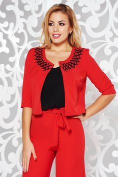 StarShinerS red elegant bolero jacket with straight cut slightly elastic fabric with embroidery details, straight cut, embroidery details, sleeves Bolero Jacket, Straight Cut, October, Rompers, Glamour, Blazer, Embroidery, Detail, Elegant