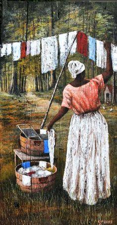 Kip Hayes - Gallery of Southern Art African American Artwork, African Art, Laundry Art, Caribbean Art, Trinidad Caribbean, Black Art Pictures, Black Love Art, Black Artwork, Afro Art