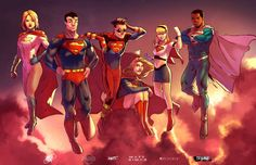 Super Family collab by ParisAlleyne on DeviantArt Supergirl Superman, Batman And Superman, Dc Comics Superheroes, Dc Comics Art, Justice League, Comic Books Art, Comic Art, Val Zod, Dc Comics Collection