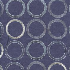 This beautifulblue tone on tone embroidered circle design drapery fabric, suitable for any decor in the home or office. Perfect for drapes and pillows.v244PIEF