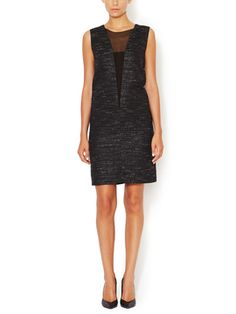 Tweed Illusion V-Neck Shift Dress from Narciso Rodriguez on Gilt