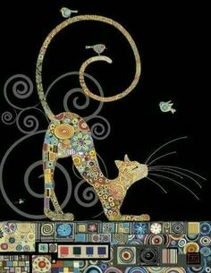 Bug Art – Cat with Birds – designed by Jane Crowther – Cat Supplies Bug Art, Cat Quilt, Arte Pop, Cat Drawing, Fabric Art, Cat Lovers, Kitty, Illustrations, Quilts