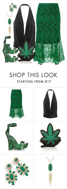 """""""Peace Out ☮"""" by dobesht ❤ liked on Polyvore featuring Ginger & Smart, LE3NO, Balmain, Gelareh Mizrahi, Kendra Scott and emeraldgreen"""