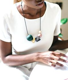 Accessorize with a hand-painted bead necklace. #EtsyJewelry