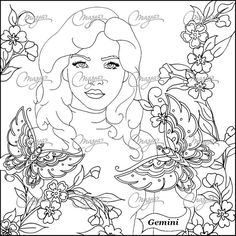 Masjas zodiac sign Gemini Coloring Page made by Masja van den Berg - featuring 1 hand-drawn design for you to bring to life with color! Is Gemini