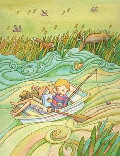 Reading in a boat.  (Linda Prater)