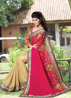 Pink #Georgette #Saree Shopping Visit:http://www.indiansareestore.in/sarees/party-wear-sarees