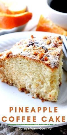 Not overly sweet, but perfectly moist, this pineapple coffee cake is packed with pineapple chunks and topped with sugar and walnuts. Just what we needed to brighten our day! Raw Food Recipes, Brunch Recipes, Baking Recipes, Cake Recipes, Dessert Recipes, Mexican Desserts, Freezer Recipes, Freezer Cooking, Drink Recipes