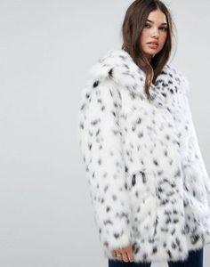ASOS // Faux Fur Jacket in Snow Leopard - $127