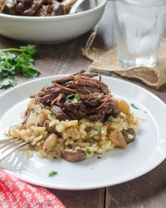 Beef Short Ribs with Mushroom Risotto are beef short ribs cooked in a crock pot until super tender. They're served over creamy mushroom risotto for the ultimate comfort food! #CAonMyPlate #CultivateCA