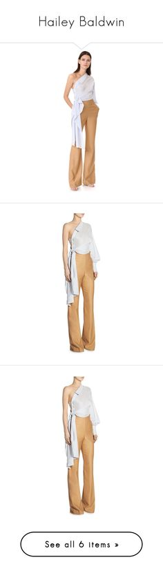 """""""Hailey Baldwin"""" by larycao ❤ liked on Polyvore featuring jumpsuits, long sleeve jumpsuit, one shoulder jumpsuit, long jumpsuits, overlay jumpsuit, draped jumpsuit, silk jumpsuit, flared jumpsuit, wool jumpsuit and jonathan simkhai"""