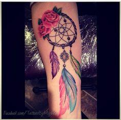 Colorful Dreamcatcher Tattoo Designs.