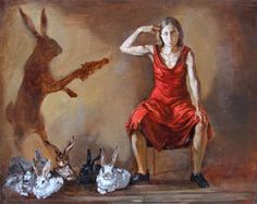 Dame Paula Rego DBE (born 16 January 1935) is a Portuguese and British visual artist who is particularly well known for her paintings and prints based on storybooks.[1] Rego's style has evolved from abstract towards representational, and she has favoured pastels over oils for much of her career. Her work often reflects an aggressive feminism, coloured by folk-themes from her native Portugal.