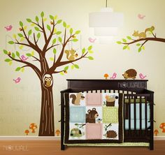 This is cute for a boy's room... minus the pink birds.  Perhaps a red bird...