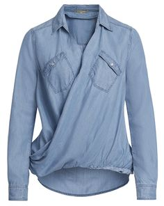 Vokuhila-Shirt in Jeans-Optik - hellblau von Patrizia Pepe bei VANITYstyle jetzt kaufen | kleidoo