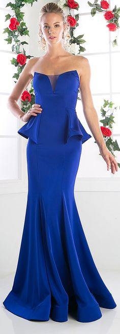 Trumpet Shape Long Evening Gown has Sweetheart and Strapless Neckline featuring a Small Sheer Triangle at the Bust and Peplum at the Waistline, Low Back with Zipper Closure, Floor Length Skirt with Flare Hem. Evening Dresses, Prom Dresses, Formal Dresses, Royal Blue Dresses, Wholesale Fashion, Fit And Flare, Strapless Dress Formal, Peplum, Gowns