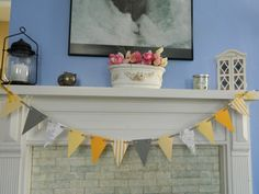 Paper Garland Yellow and Gray Wedding Garland Photo Prop Party Decorations Bridal Shower Decor Baby Shower Decoration. $9.75, via Etsy.