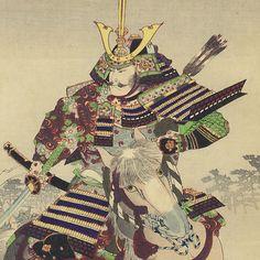 Kusunoki Masatsura in Battle (detail) by Chikanobu (1838 - 1912)