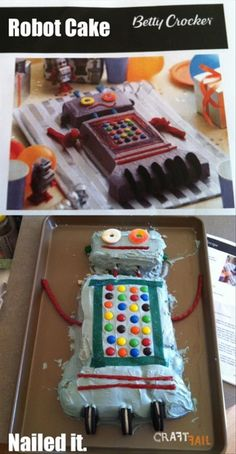 robot cake nailed it Diy Projects Gone Wrong, Best Fails Ever, Cakes Gone Wrong, Robot Cake, Cooking Fails, Food Fails, Fail Nails, Funny Cake, Cake Wrecks