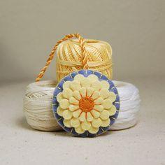 Flower Scissor Fob  Yellow Dahlia Hand Embroidered by TheBlueDaisy, $12.00