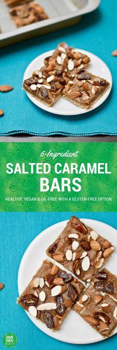 6-Ingredient Salted Caramel Bars | WIN-WINFOOD.com #healthy #vegan #glutenfree