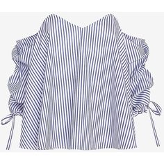 Caroline Constas Striped Poplin Off The Shoulder Blouse (6 015 ZAR) ❤ liked on Polyvore featuring tops, blouses, striped blouse, striped top, poplin blouse, poplin top and off shoulder tops