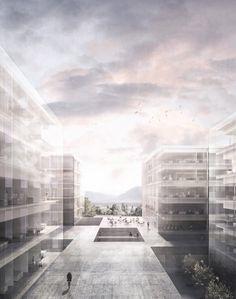 New Laboratories Building - University of Lausanne. Alberto Campo Baeza with Juan José Castellón Gonzalez, November 2016 Monumental Architecture, Art And Architecture, Lausanne, Architecture Visualization, High Rise Building, Skyscraper, Floor Plans, House Design, Instagram