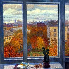 Vladimir Telegin (Russian contemporary painter, b. 1939) - View from the workroom, 1998 - Oil on canvas