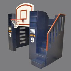In our workshop we create beautiful kids bedroom furniture and playhouses. - Custom designed and built by Tanglewood Design. Basketball Bedding, Sports Bedding, Bunk Beds With Stairs, Kids Bunk Beds, Loft Beds, Bunk Bed Designs, Dreams Beds, Kids Bedroom Furniture, Bedroom Ideas