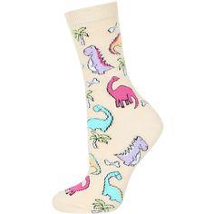 TOPSHOP Dinosaur and Palm Tree Socks ($6) ❤ liked on Polyvore featuring intimates, hosiery, socks, yellow, topshop, ankle socks, yellow socks, cotton ankle socks and cotton socks