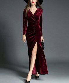 Another great find on #zulily! Red Wine Velvet Side-Slit V-Neck Dress #zulilyfinds