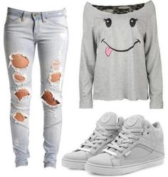 shirt jeans ripped jeans sneakers shoes grey sweater long sleeves grey top grey grey shoes sweatshirt nike shoes off the shoulder weheartit t-shirt jeans smiley kicks shredded hipster skater hipster punk bag top outfit funny cotton