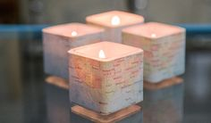 DIY Map covered votives idea from DarbySmart