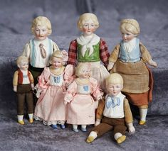 """6.5"""" (17 cm.) A Family of German Bisque Half Dolls by Hertwig 300/600"""