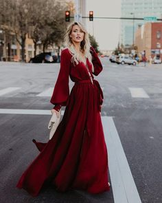 Opulent Long Sleeve Diana Maxi Dress - Wine
