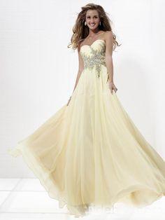 Light yellow gossamer chiffon grace floor length and applique beaded bodice prom dress/evening gown