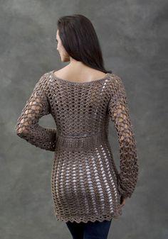 Crochetemoda: Túnica Marrom de Crochet