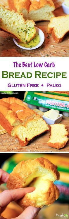 Only of Carbs for the ENTIRE Loaf of Bread! Made with just eggs, whey protein powder and salt - Low Carb, Gluten Free, Keto, & Paleo. Gluten Free Low Carb Bread Recipe, Best Low Carb Bread, Lowest Carb Bread Recipe, Keto Bread, Gluten Free Baking, Gluten Free Recipes, Low Carb Recipes, Cooking Recipes, Keto Bagels